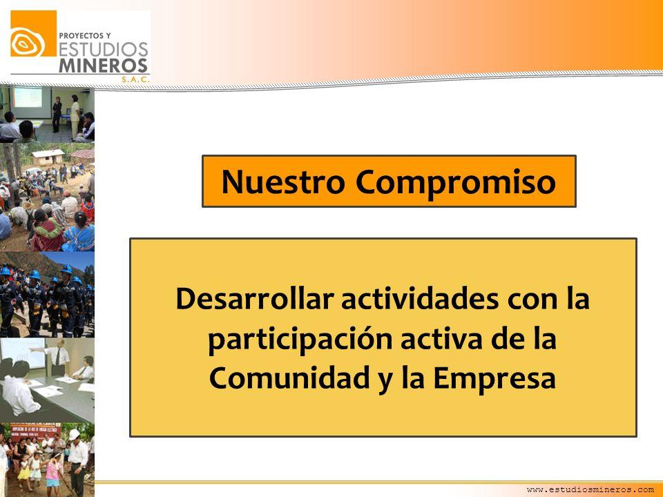 www.estudiosmineros.com Desarrollar actividades con la participación activa de la Comunidad y la Empresa Nuestro Compromiso