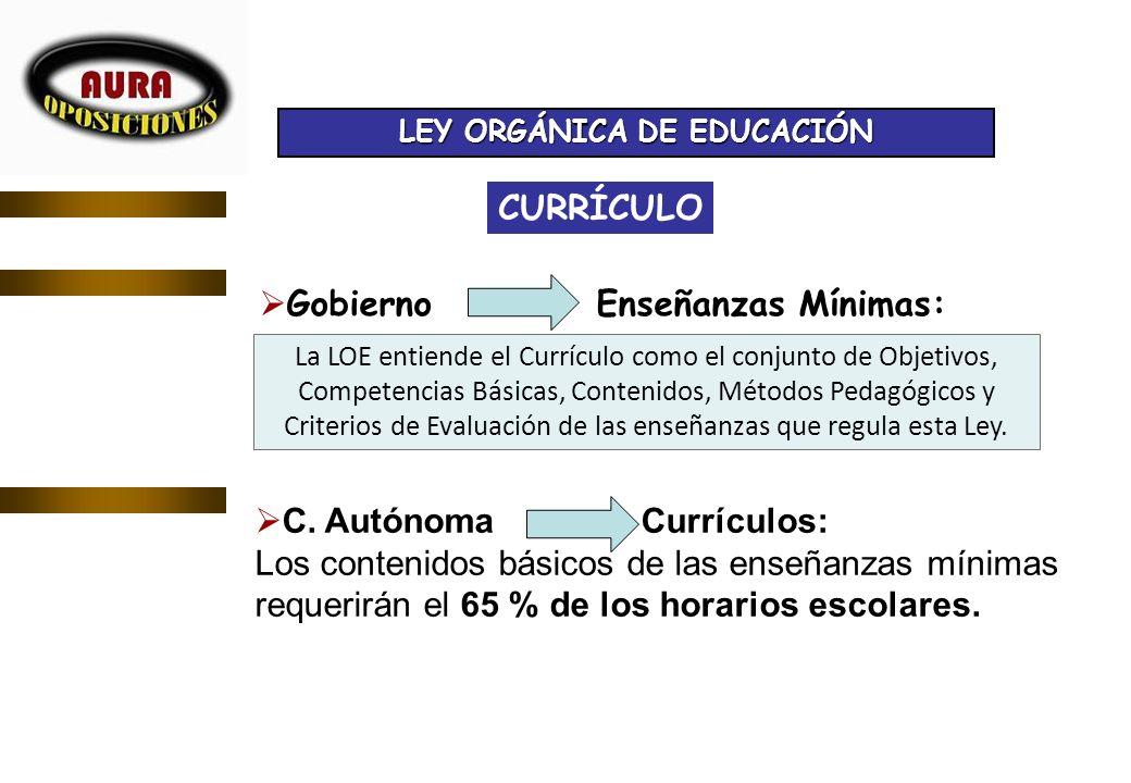 CURRÍCULO Gobierno Enseñanzas Mínimas: C. Autónoma Currículos: Los contenidos básicos de las enseñanzas mínimas requerirán el 65 % de los horarios esc