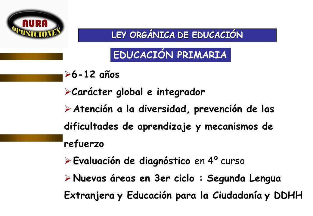 FEBRERO 2007 EDUCACIÓN PRIMARIA 6-12 años Carácter global e integrador Atención a la diversidad, prevención de las dificultades de aprendizaje y mecan