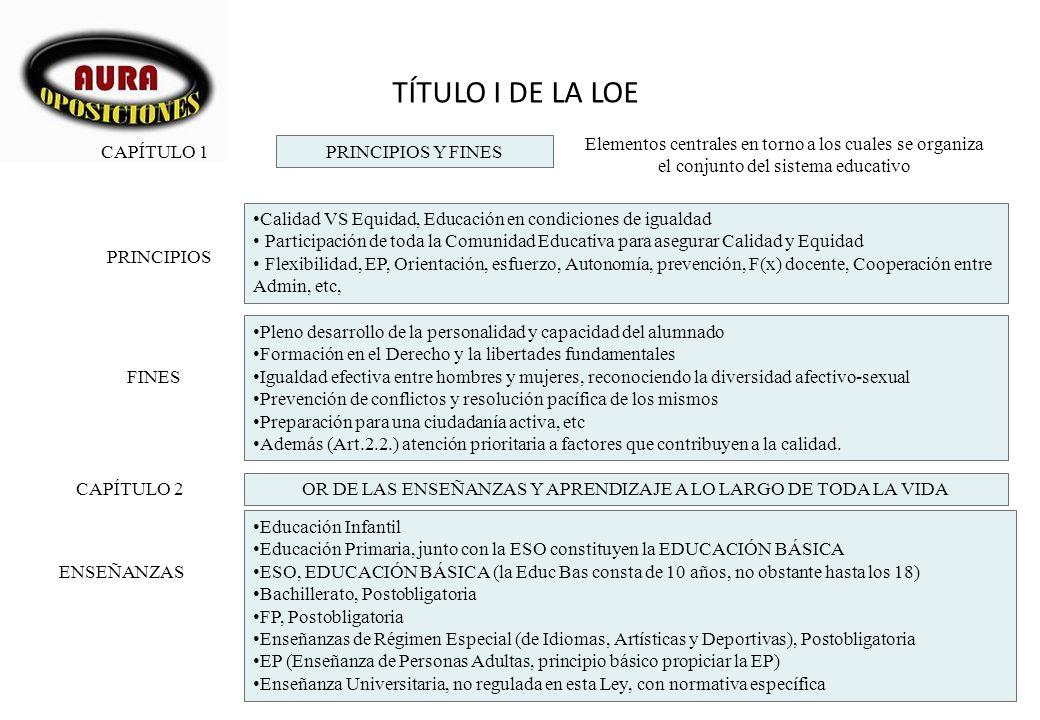 TÍTULO I DE LA LOE PRINCIPIOS Y FINES CAPÍTULO 1 Elementos centrales en torno a los cuales se organiza el conjunto del sistema educativo PRINCIPIOS Ca