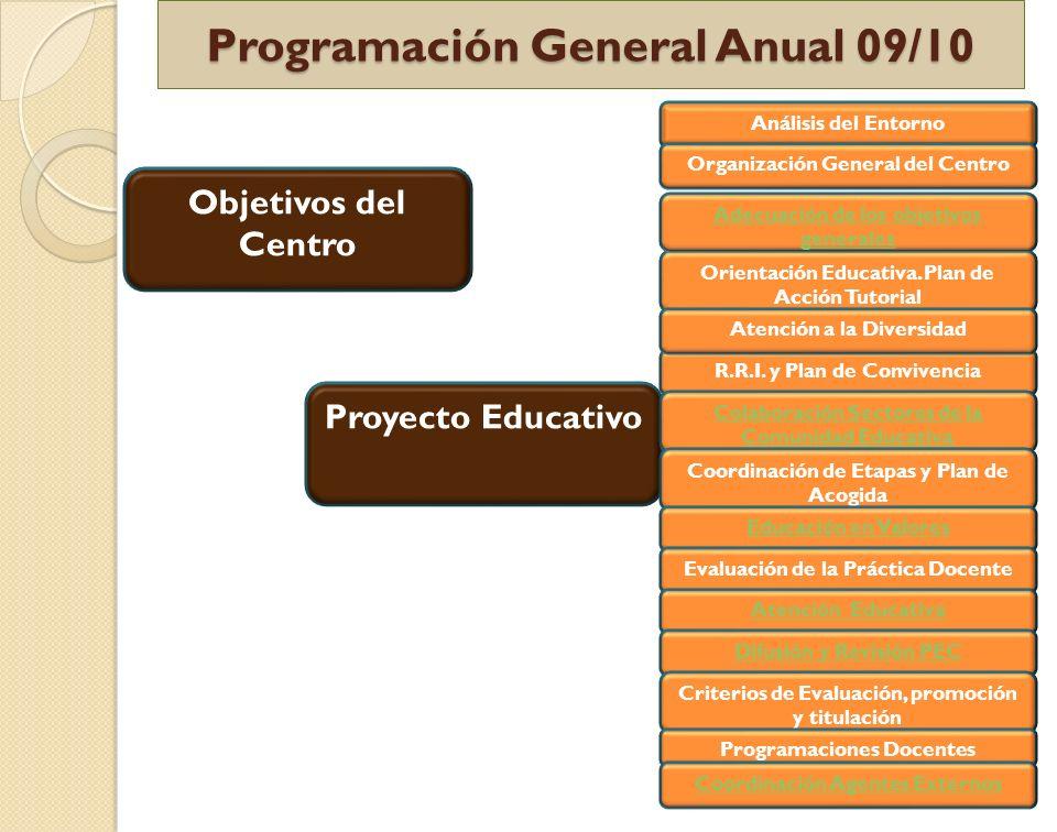 Programación General Anual 09/10 Proyecto Educativo R.R.I. y Plan de Convivencia Orientación Educativa. Plan de Acción Tutorial Adecuación de los obje
