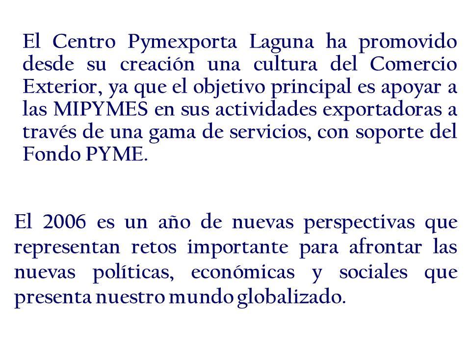 El Centro Pymexporta Laguna ha promovido desde su creación una cultura del Comercio Exterior, ya que el objetivo principal es apoyar a las MIPYMES en sus actividades exportadoras a través de una gama de servicios, con soporte del Fondo PYME.