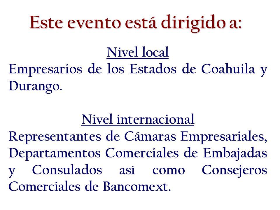 Nivel local Empresarios de los Estados de Coahuila y Durango.