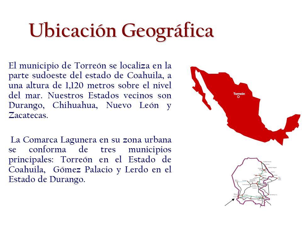 El municipio de Torreón se localiza en la parte sudoeste del estado de Coahuila, a una altura de 1,120 metros sobre el nivel del mar.