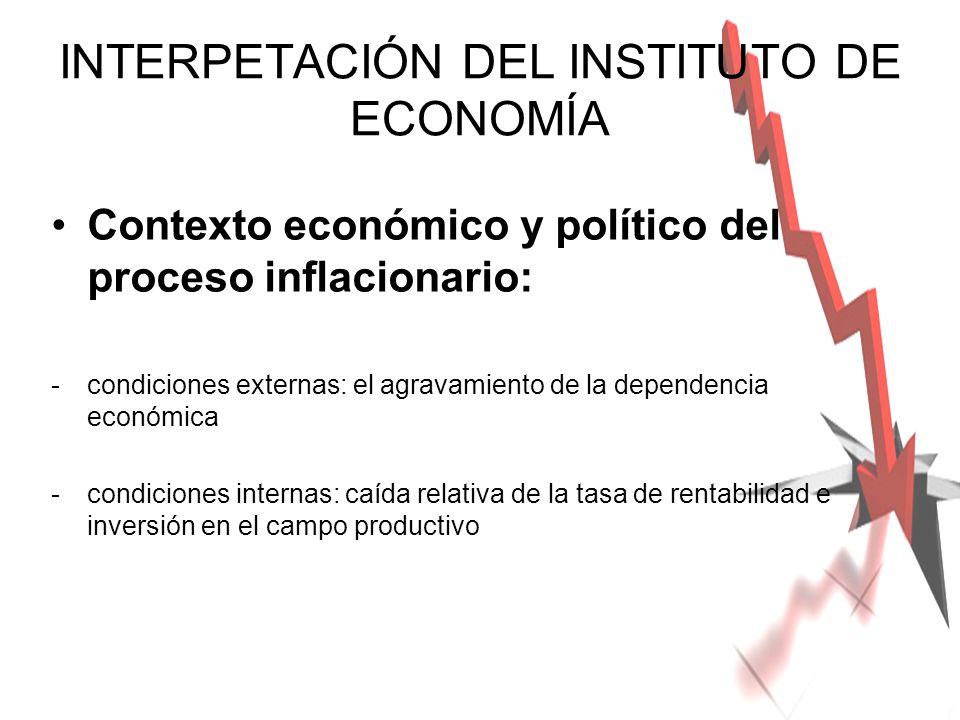 INTERPETACIÓN DEL INSTITUTO DE ECONOMÍA Contexto económico y político del proceso inflacionario: -condiciones externas: el agravamiento de la dependen