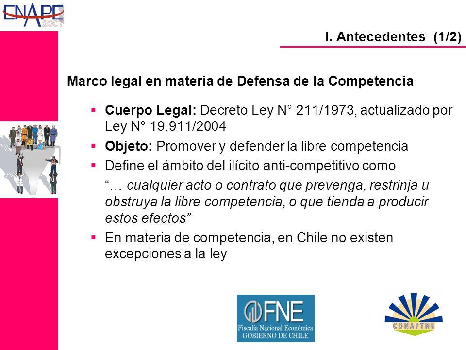 Institucionalidad de competencia Fiscalía Nacional Económica (FNE) Tribunal de Defensa de Libre Competencia (TDLC) Corte Suprema I.