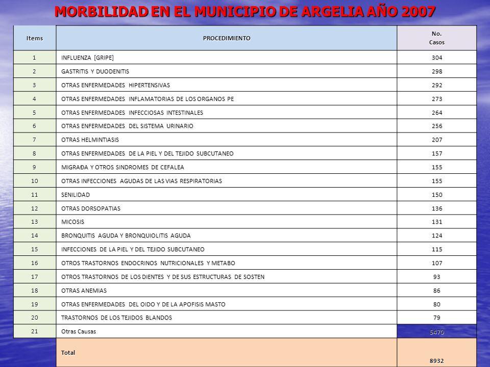 MORBILIDAD EN EL MUNICIPIO DE ARGELIA AÑO 2007 ItemsPROCEDIMIENTO No. Casos 1 INFLUENZA [GRIPE] 304 2 GASTRITIS Y DUODENITIS 298 3 OTRAS ENFERMEDADES