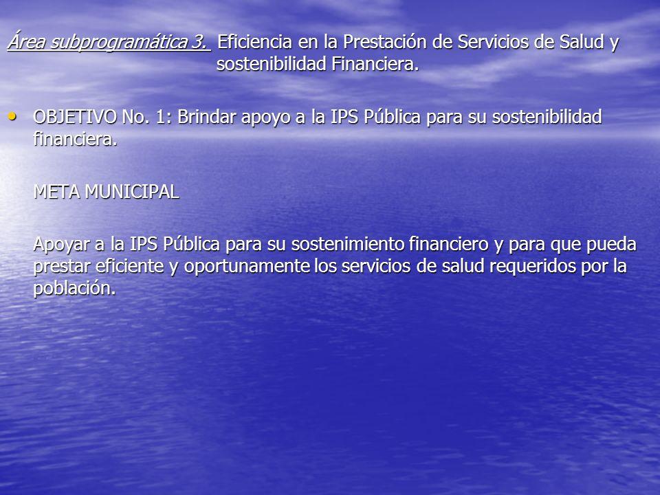 Área subprogramática 3. Eficiencia en la Prestación de Servicios de Salud y sostenibilidad Financiera. OBJETIVO No. 1: Brindar apoyo a la IPS Pública