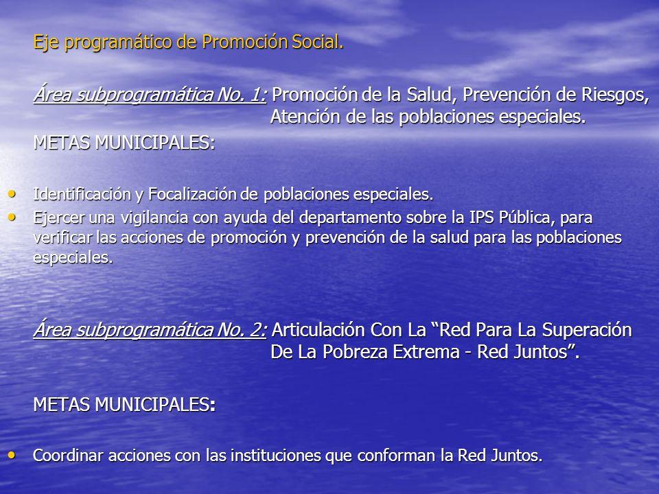 Eje programático de Promoción Social. Área subprogramática No. 1: Promoción de la Salud, Prevención de Riesgos, Atención de las poblaciones especiales