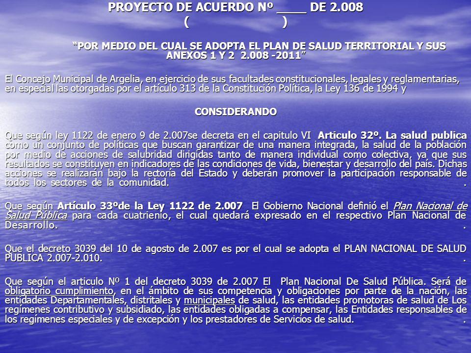 PROYECTO DE ACUERDO Nº ____ DE 2.008 ( ) POR MEDIO DEL CUAL SE ADOPTA EL PLAN DE SALUD TERRITORIAL Y SUS ANEXOS 1 Y 2 2.008 -2011 El Concejo Municipal