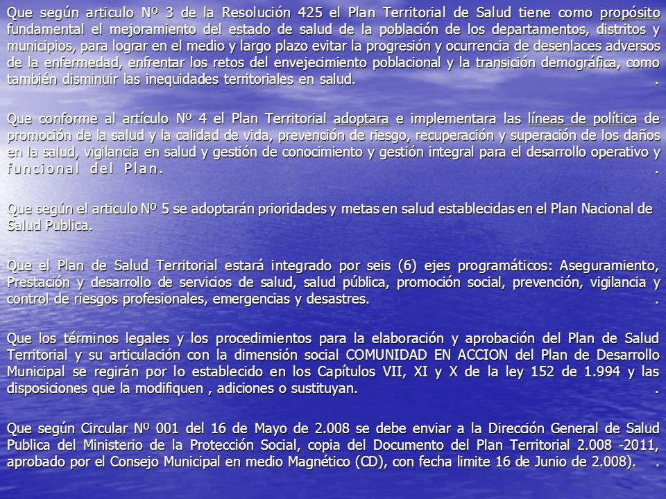 Que según articulo Nº 3 de la Resolución 425 el Plan Territorial de Salud tiene como propósito fundamental el mejoramiento del estado de salud de la p