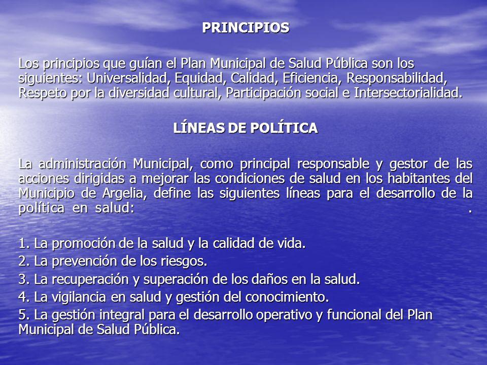 PRINCIPIOS Los principios que guían el Plan Municipal de Salud Pública son los siguientes: Universalidad, Equidad, Calidad, Eficiencia, Responsabilida
