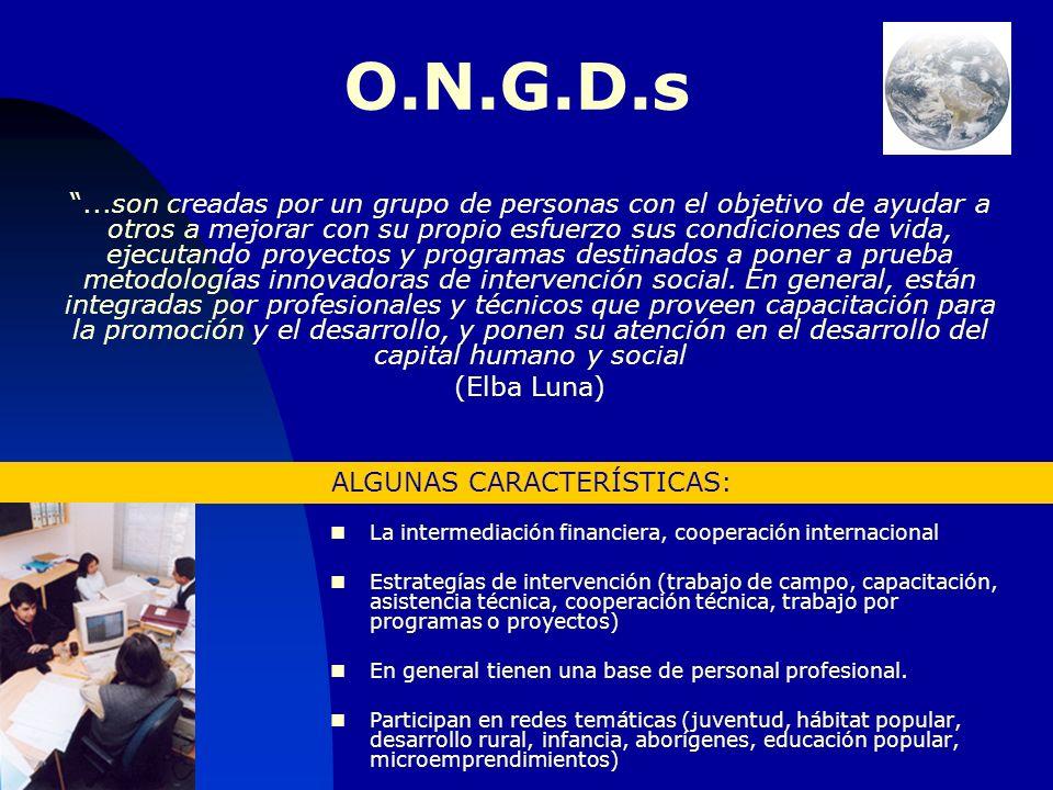 CATEGORIZACION TENTI FANFANI, LUNA y OTROS FONDOS PROPIOS FONDOS EXTERNOS PARA PROPIOS MIEMBROS GremialesOrganizaciones de Base PARA OTROS Fundaciones Empresariales ONGs Asistenciales Ampliación Derechos Investigativas Promoción y Desarrollo (ONGDs) Eloy Anello: ONGs de Transformación Social