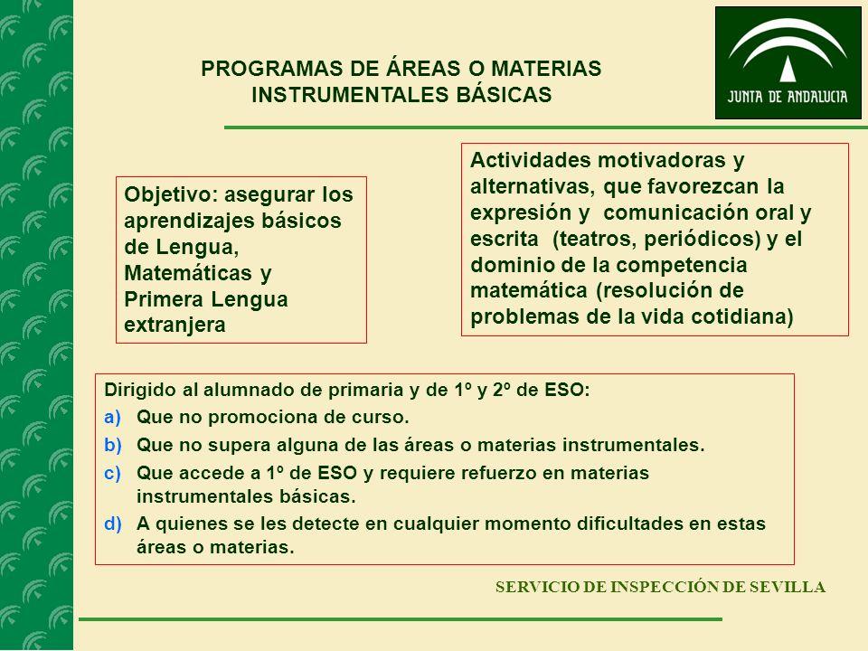 SERVICIO DE INSPECCIÓN DE SEVILLA PROGRAMAS DE ÁREAS O MATERIAS INSTRUMENTALES BÁSICAS Objetivo: asegurar los aprendizajes básicos de Lengua, Matemáti