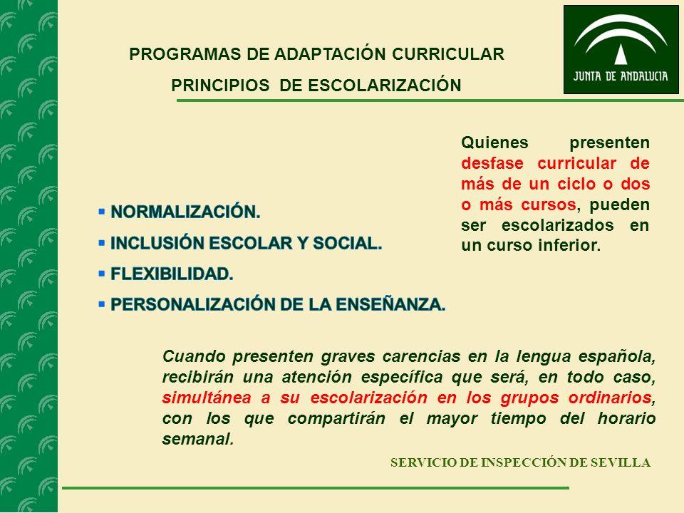 SERVICIO DE INSPECCIÓN DE SEVILLA PROGRAMAS DE ADAPTACIÓN CURRICULAR PRINCIPIOS DE ESCOLARIZACIÓN Cuando presenten graves carencias en la lengua españ