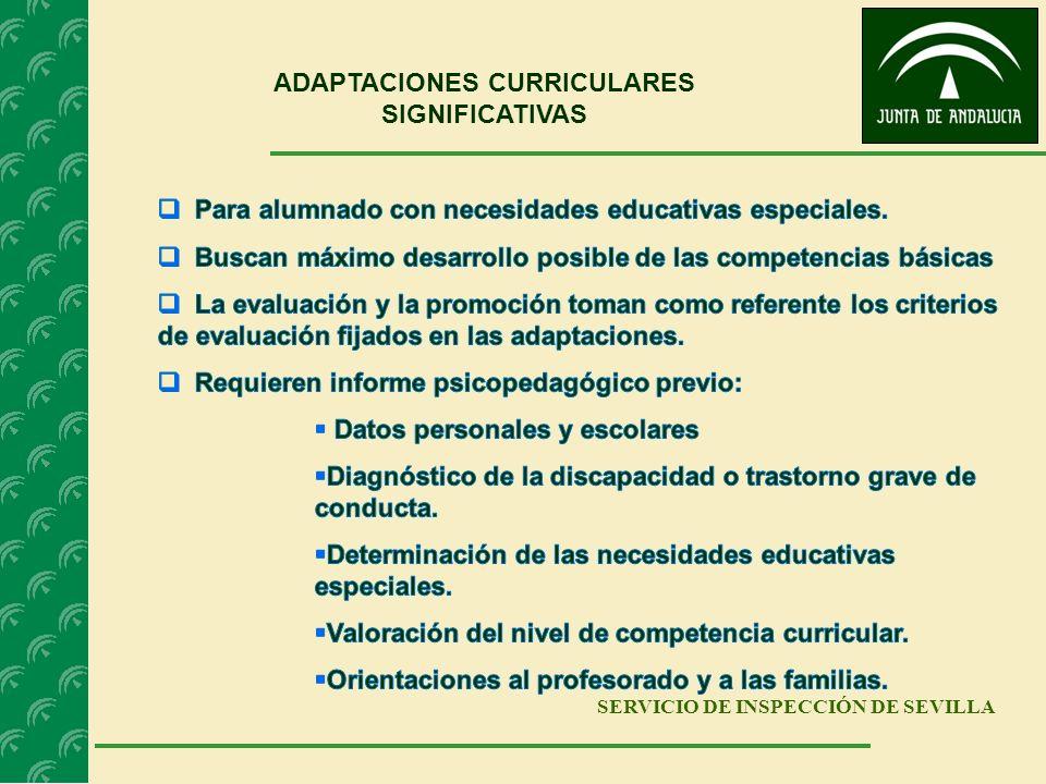 SERVICIO DE INSPECCIÓN DE SEVILLA ADAPTACIONES CURRICULARES SIGNIFICATIVAS