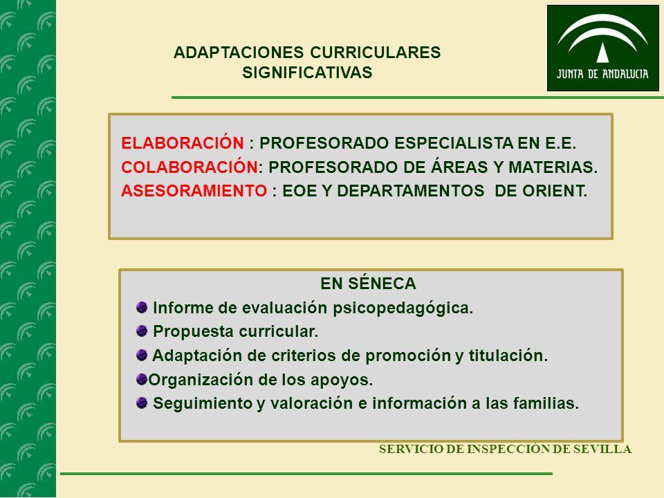 SERVICIO DE INSPECCIÓN DE SEVILLA ADAPTACIONES CURRICULARES SIGNIFICATIVAS ELABORACIÓN : PROFESORADO ESPECIALISTA EN E.E. COLABORACIÓN: PROFESORADO DE