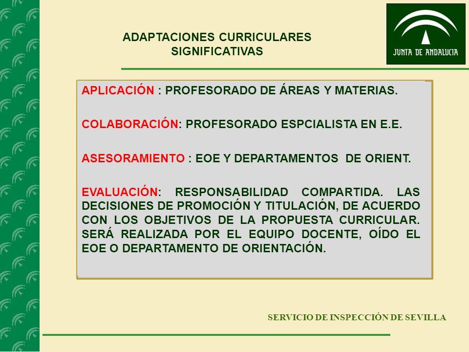 SERVICIO DE INSPECCIÓN DE SEVILLA ADAPTACIONES CURRICULARES SIGNIFICATIVAS APLICACIÓN : PROFESORADO DE ÁREAS Y MATERIAS. COLABORACIÓN: PROFESORADO ESP