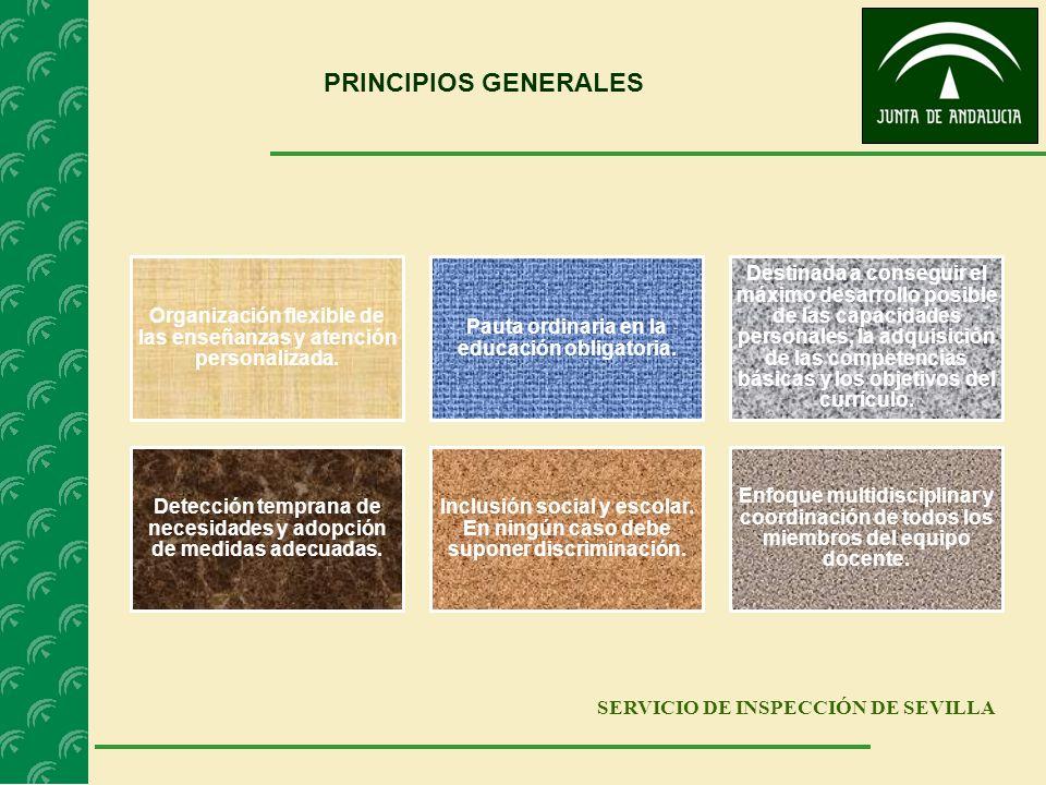 SERVICIO DE INSPECCIÓN DE SEVILLA PRINCIPIOS GENERALES Organización flexible de las enseñanzas y atención personalizada. Pauta ordinaria en la educaci