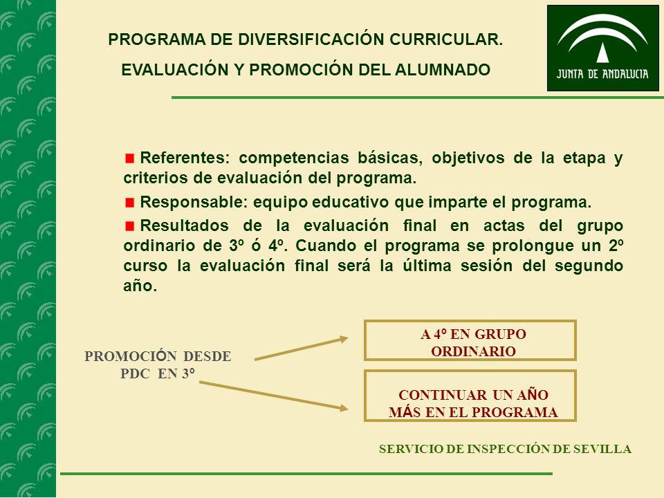 SERVICIO DE INSPECCIÓN DE SEVILLA PROGRAMA DE DIVERSIFICACIÓN CURRICULAR. EVALUACIÓN Y PROMOCIÓN DEL ALUMNADO Referentes: competencias básicas, objeti