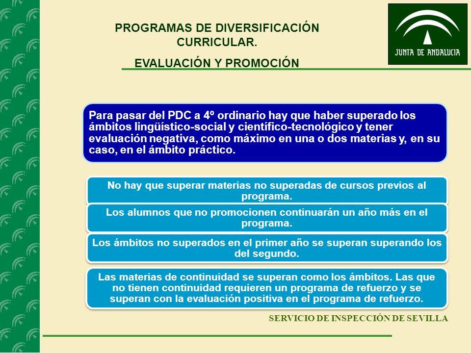 SERVICIO DE INSPECCIÓN DE SEVILLA PROGRAMAS DE DIVERSIFICACIÓN CURRICULAR. EVALUACIÓN Y PROMOCIÓN Para pasar del PDC a 4º ordinario hay que haber supe