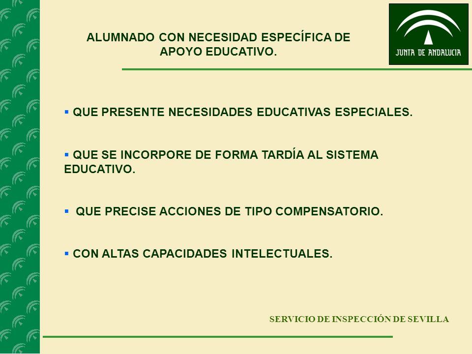 SERVICIO DE INSPECCIÓN DE SEVILLA ALUMNADO CON NECESIDAD ESPECÍFICA DE APOYO EDUCATIVO. QUE PRESENTE NECESIDADES EDUCATIVAS ESPECIALES. QUE SE INCORPO