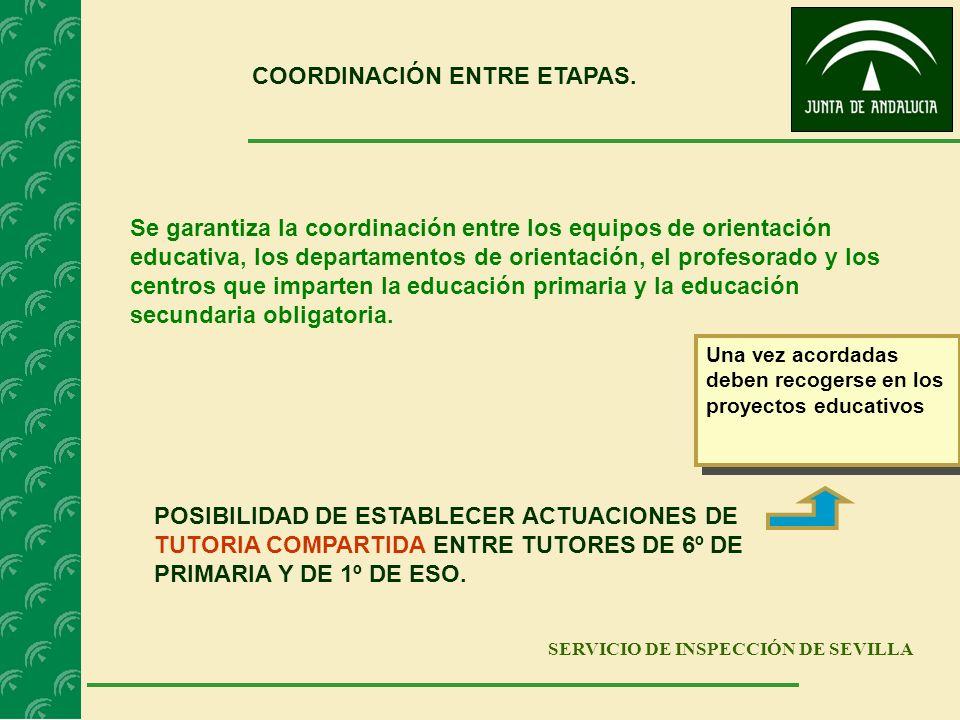 SERVICIO DE INSPECCIÓN DE SEVILLA COORDINACIÓN ENTRE ETAPAS. Se garantiza la coordinación entre los equipos de orientación educativa, los departamento