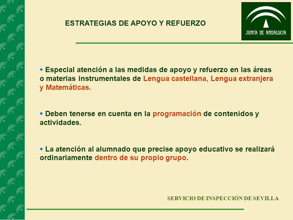 SERVICIO DE INSPECCIÓN DE SEVILLA ESTRATEGIAS DE APOYO Y REFUERZO Especial atención a las medidas de apoyo y refuerzo en las áreas o materias instrume