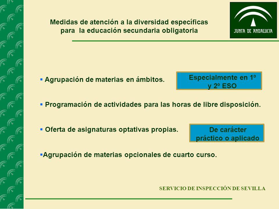 SERVICIO DE INSPECCIÓN DE SEVILLA Medidas de atención a la diversidad específicas para la educación secundaria obligatoria Agrupación de materias en á