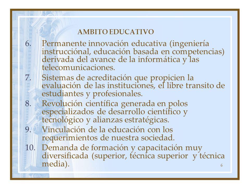 6 AMBITO EDUCATIVO 6.Permanente innovación educativa (ingeniería instrucciónal, educación basada en competencias) derivada del avance de la informátic