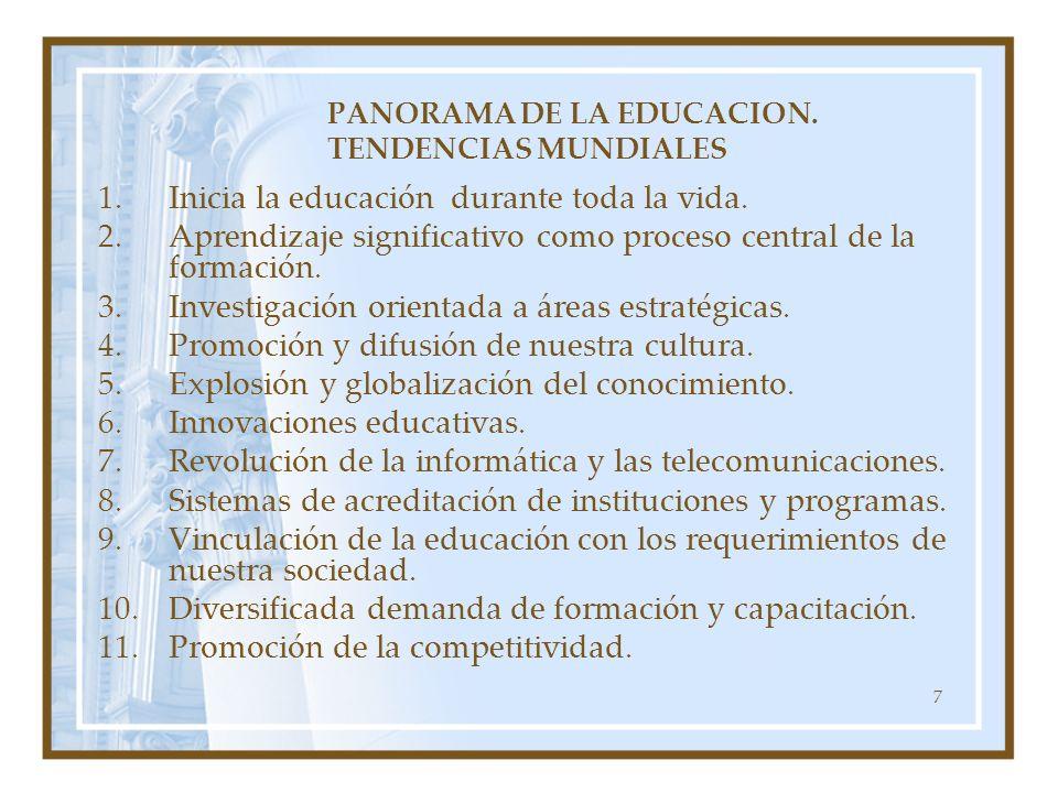 7 PANORAMA DE LA EDUCACION. TENDENCIAS MUNDIALES 1.Inicia la educación durante toda la vida. 2.Aprendizaje significativo como proceso central de la fo