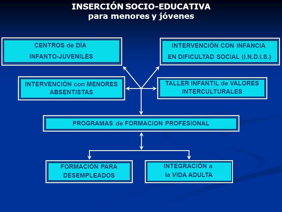 INSERCIÓN SOCIO-EDUCATIVA para menores y jóvenes CENTROS de DÍA INFANTO-JUVENILES INTERVENCIÓN con MENORES ABSENTISTAS PROGRAMAS de FORMACION PROFESIO