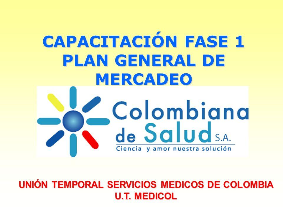 CAPACITACIÓN FASE 1 PLAN GENERAL DE MERCADEO UNIÓN TEMPORAL SERVICIOS MEDICOS DE COLOMBIA U.T. MEDICOL