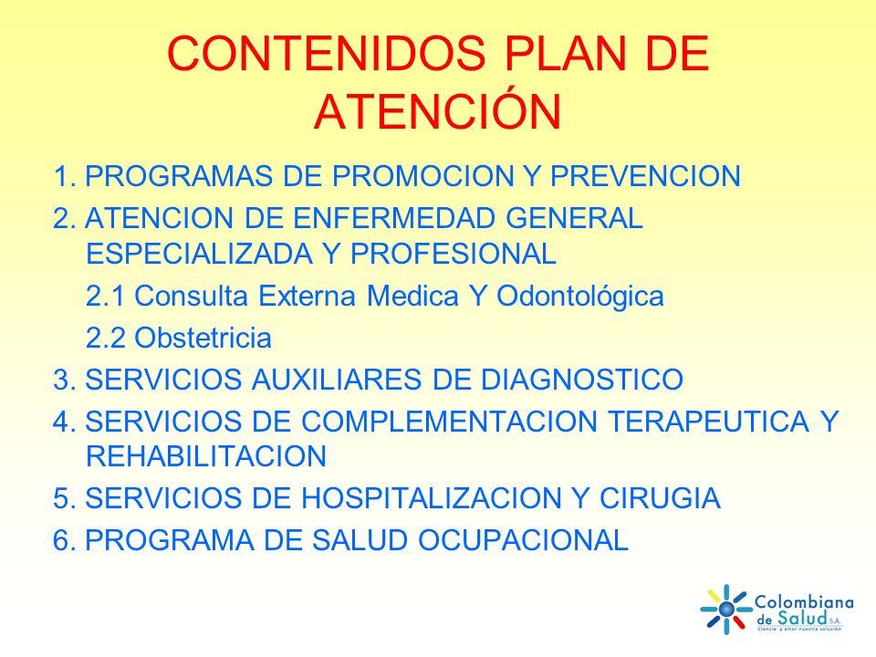 CONTENIDOS PLAN DE ATENCIÓN 1. PROGRAMAS DE PROMOCION Y PREVENCION 2. ATENCION DE ENFERMEDAD GENERAL ESPECIALIZADA Y PROFESIONAL 2.1 Consulta Externa