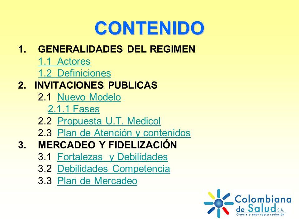 CONTENIDO 1.GENERALIDADES DEL REGIMEN 1.1 Actores 1.2 Definiciones 2. INVITACIONES PUBLICAS 2.1 Nuevo ModeloNuevo Modelo 2.1.1 Fases 2.2 Propuesta U.T