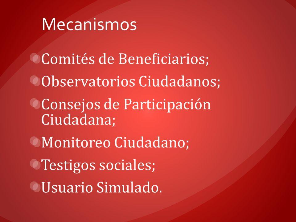 Mecanismos Comités de Beneficiarios; Observatorios Ciudadanos; Consejos de Participación Ciudadana; Monitoreo Ciudadano; Testigos sociales; Usuario Si