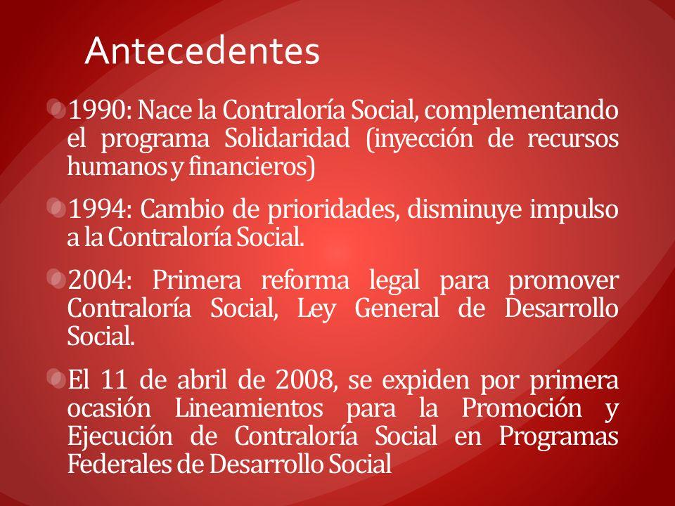 Antecedentes 1990: Nace la Contraloría Social, complementando el programa Solidaridad (inyección de recursos humanos y financieros) 1994: Cambio de pr