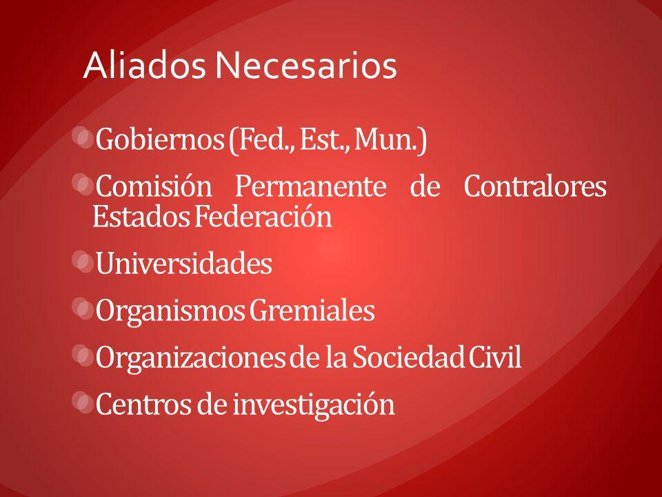 Aliados Necesarios Gobiernos (Fed., Est., Mun.) Comisión Permanente de Contralores Estados Federación Universidades Organismos Gremiales Organizacione
