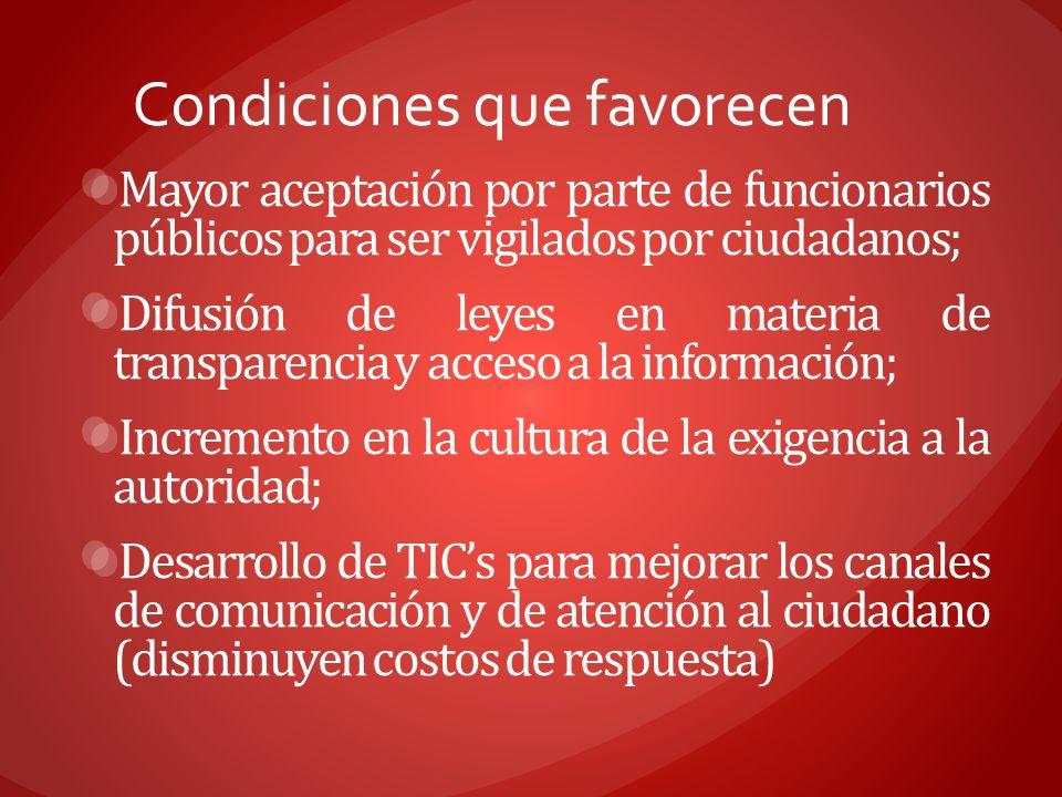 Condiciones que favorecen Mayor aceptación por parte de funcionarios públicos para ser vigilados por ciudadanos; Difusión de leyes en materia de trans