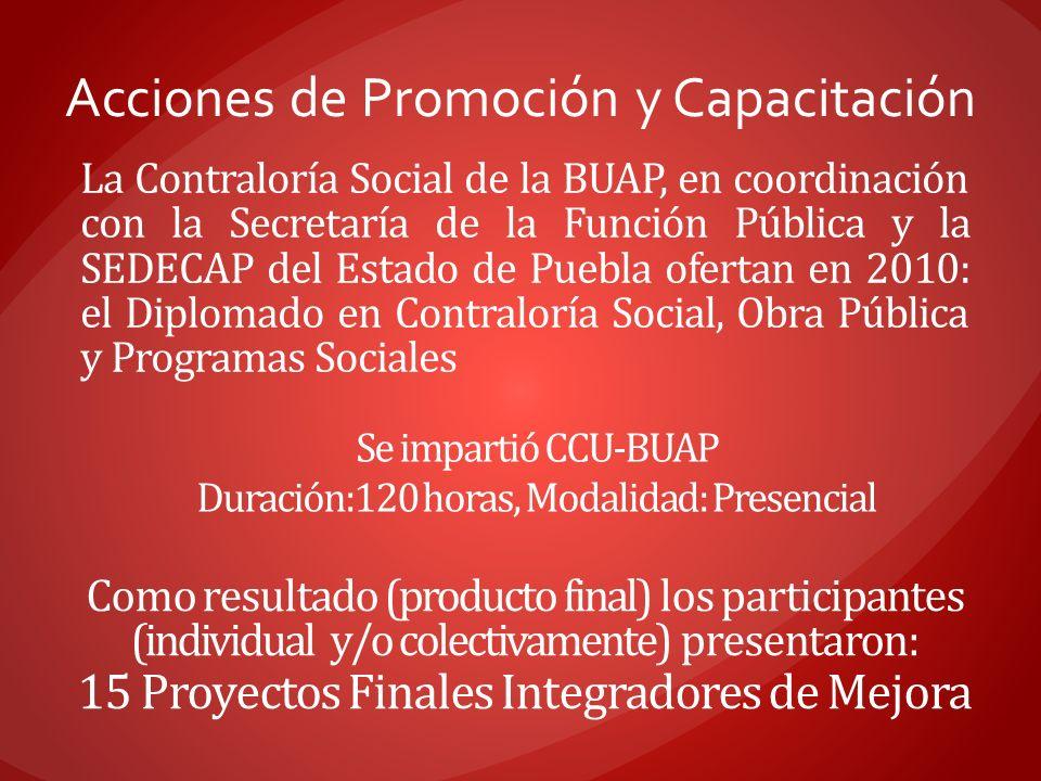 Acciones de Promoción y Capacitación La Contraloría Social de la BUAP, en coordinación con la Secretaría de la Función Pública y la SEDECAP del Estado