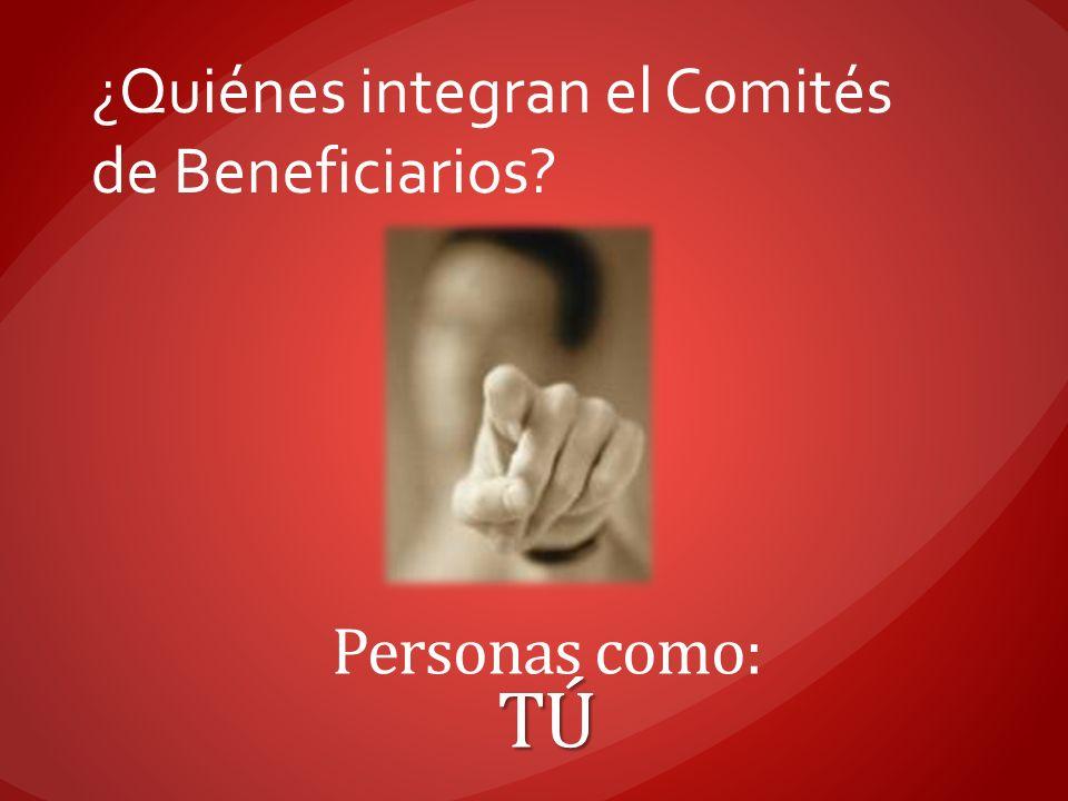 ¿Quiénes integran el Comités de Beneficiarios? Personas como:TÚ
