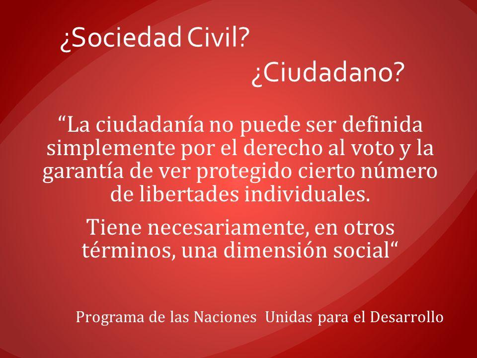 ¿Sociedad Civil? ¿Ciudadano? La ciudadanía no puede ser definida simplemente por el derecho al voto y la garantía de ver protegido cierto número de li