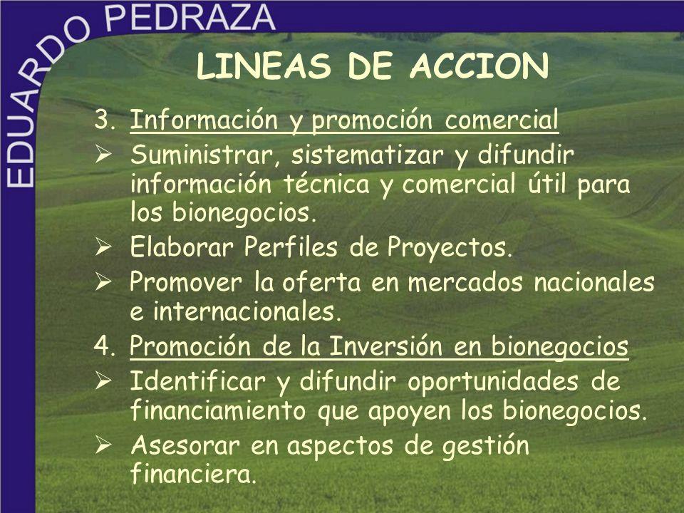 3.Información y promoción comercial Suministrar, sistematizar y difundir información técnica y comercial útil para los bionegocios. Elaborar Perfiles