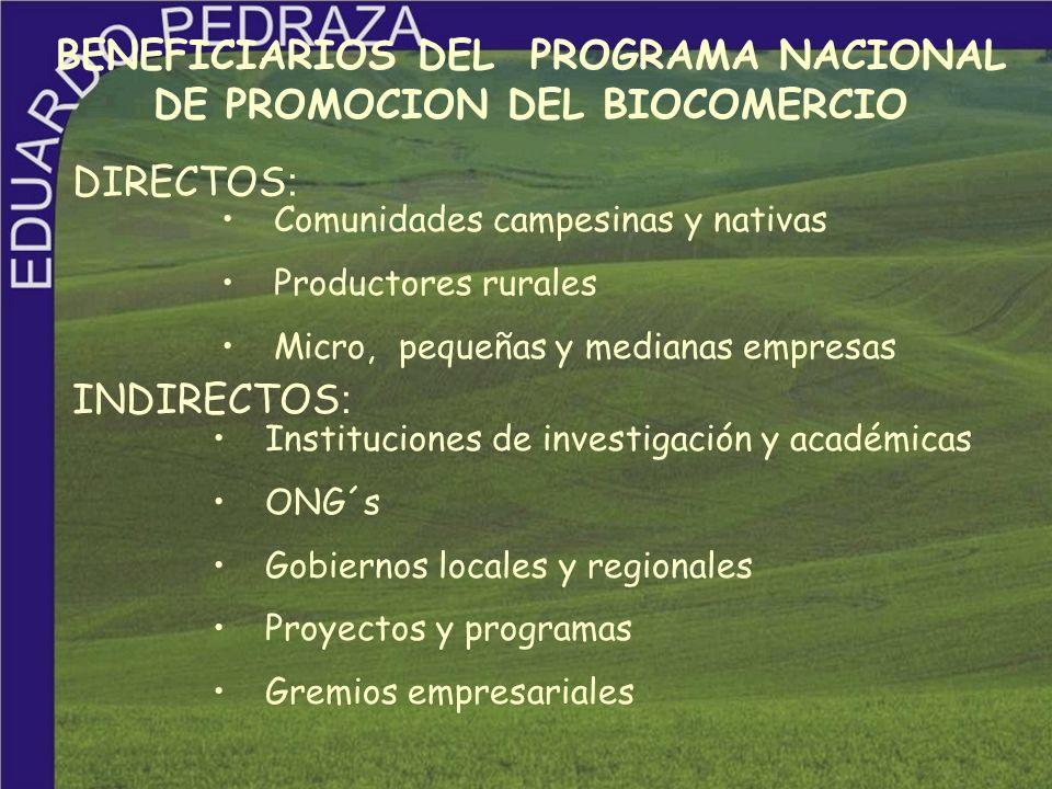 BENEFICIARIOS DEL PROGRAMA NACIONAL DE PROMOCION DEL BIOCOMERCIO Comunidades campesinas y nativas Productores rurales Micro, pequeñas y medianas empre