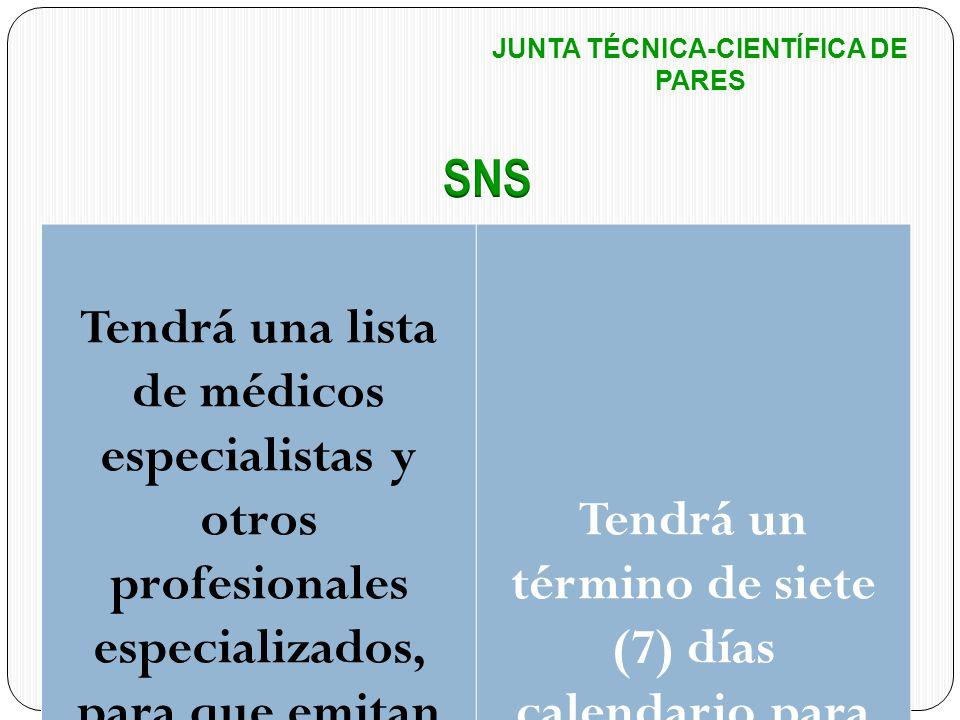 JUNTA TÉCNICA-CIENTÍFICA DE PARES Tendrá una lista de médicos especialistas y otros profesionales especializados, para que emitan concepto sobre la pe