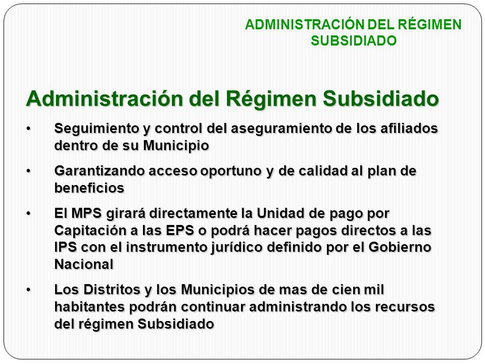 Administración del Régimen Subsidiado Seguimiento y control del aseguramiento de los afiliados dentro de su MunicipioSeguimiento y control del asegura