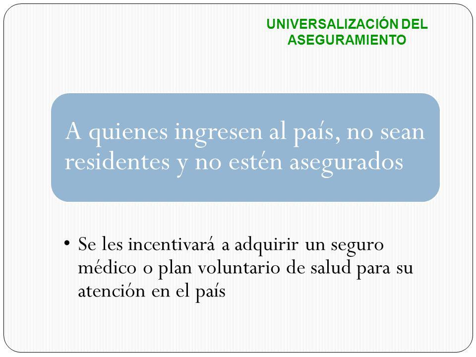 A quienes ingresen al país, no sean residentes y no estén asegurados Se les incentivará a adquirir un seguro médico o plan voluntario de salud para su