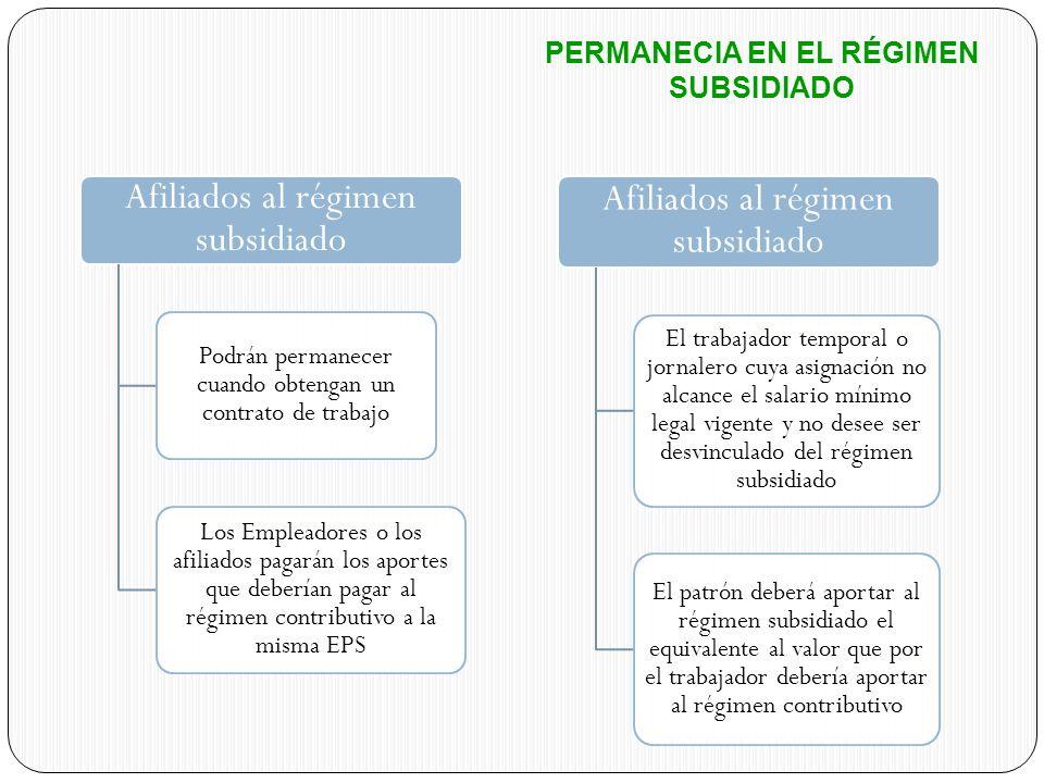 Afiliados al régimen subsidiado Podrán permanecer cuando obtengan un contrato de trabajo Los Empleadores o los afiliados pagarán los aportes que deber