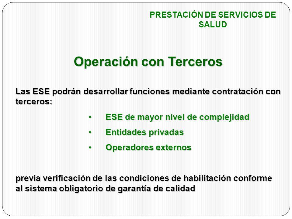 Operación con Terceros Las ESE podrán desarrollar funciones mediante contratación con terceros: ESE de mayor nivel de complejidadESE de mayor nivel de