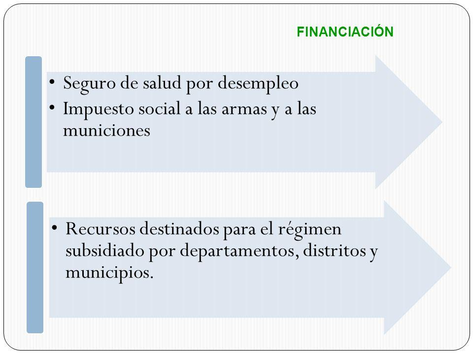 FINANCIACIÓN Seguro de salud por desempleo Impuesto social a las armas y a las municiones Recursos destinados para el régimen subsidiado por departame